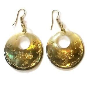 Gold Turtle Embossed Abalone Shell Dangle Earrings